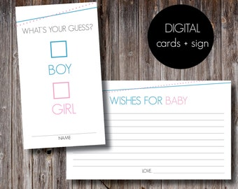 SALE! Baby Shower and Gender Reveal Cards + Sign
