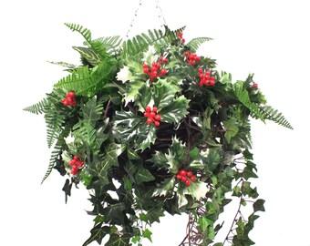 Holly & Greenery Christmas Basket