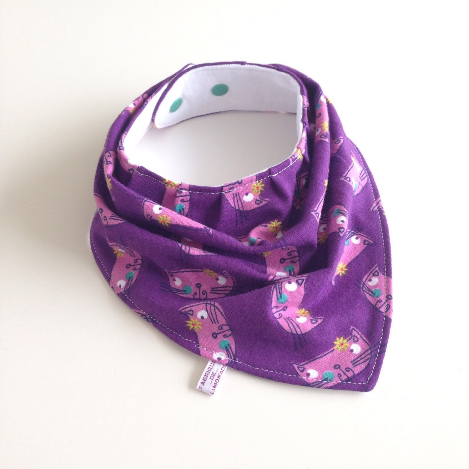 Purple baby bandana bib with cats knit fabric scarf bib for Purple baby fabric