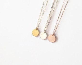 center of attention: modern circle pendant necklace; unique, simple, everyday gift for her, gold