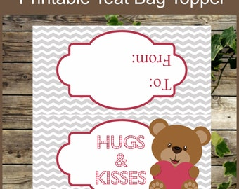Valentine Treat Bag Toppers, Hugs and Kisses Valentine Candy Bag Toppers, Instant Download, Printable Kids Valentine Bag Toppers