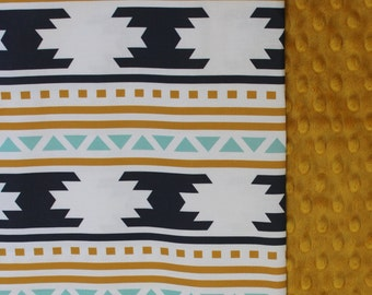 Aztec Baby Blanket, Navajo baby blanket,  Tribal baby blanket,  Gold Mint Navy Navajo Blanket, American Indian baby blanket, gender neutral