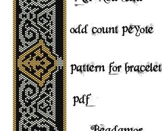 Peyote Pattern for bracelet: Art Nouveau- INSTANT DOWNLOAD pdf