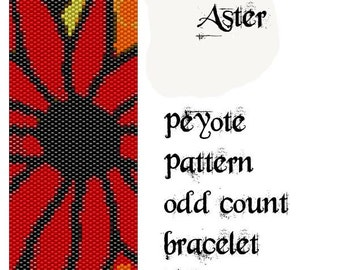 Peyote Pattern for bracelet: Aster flower - INSTANT DOWNLOAD pdf