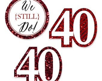 24 pc. Small We Still Do - 40th Wedding Anniversary Shaped Paper Cut Outs - Anniversary Die Cut Party Decoration Kit