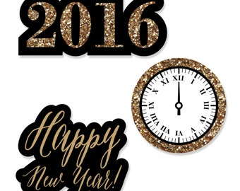 24 pc. New Year's Eve - Gold Shaped Paper Cut Outs - New Year's Eve Party Decoration Kit
