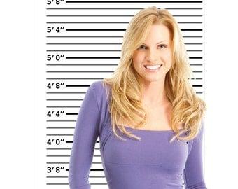 Mug Shot Line Up Height Chart - 2' x 5' Photo Booth Backdrop