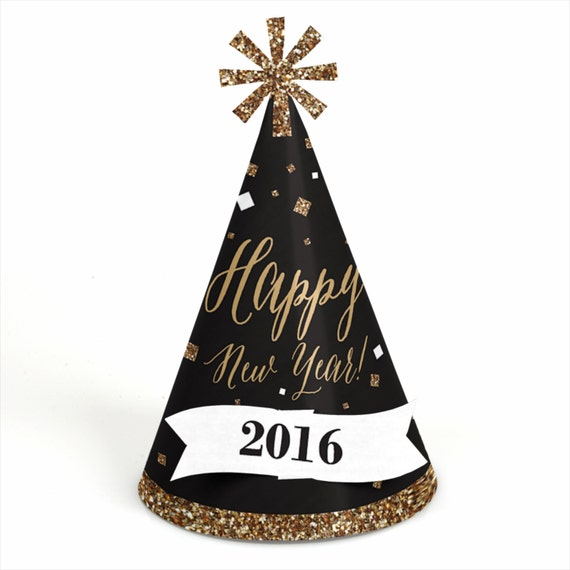 8 New Years Eve - Gold Party Hats - New Year's Eve Gold Party Theme