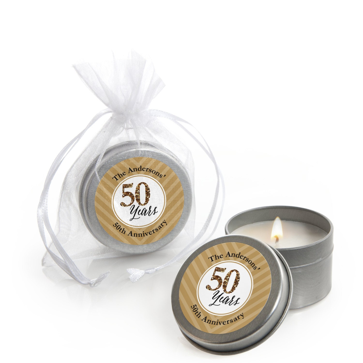 We still do 50th wedding anniversary candle tin party favors for 50th wedding anniversary party favors