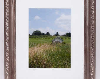 Barn Farmland Green Fields Rustic Photo | Little & White | Pennsylvania Artwork, Framed and Matted Photo Art Print