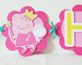 Fairy Peppa Pig Banner/Princess Fairy Peppa Pig Banner/Peppa Pig Banner/Peppa Pig/Girl Party/Princess Party