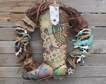 """18"""" Cowboy Boot Wreath Rustic Cowboy Wreath Cowgirl Boot Wreath Tin Boot Wreath Turquoise Brown Boot Wreath Country Western Boot Wreath"""