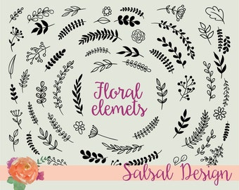 Hand Drawn Flowers Laurels and Wreaths Vector Clipart - Design Elements - Instant Download-VG005