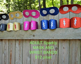 Adult Mask and Wrist Bands SET. Adult superhero set. Adult superhero costume. Adult superhero Mask. Adult Wrist Cuffs. Adult Costume. Mask.