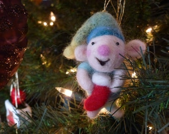Needle felted Christmas mouse OOAK handmade Christmas ornaments( Each sold individually)