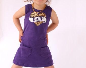 Mum Tattoo Girls Dress / Baby & Toddler Purple Rockabilly Girls Clothes / Tattoo Baby Clothes