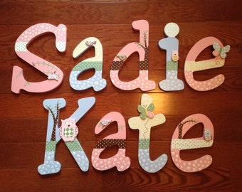 Custom Hand-Panted Letters match HAYLEY OWL Bird Tree Nursery Bedding Personalized Wood Name... Priced Per Letter