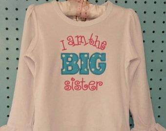 Appliqued Big Sister Short Sleeve/Long Sleeve Ruffle/No Ruffle Shirt