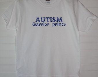 Autism Warrior Prince Line Version Youth White Short Sleeve Shirt