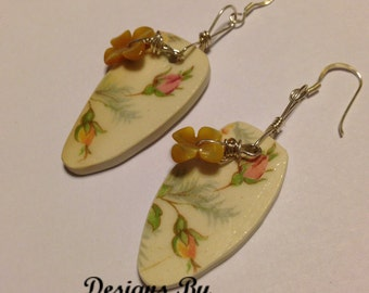 Vintage Porcelain Drop Earrings Chipped China