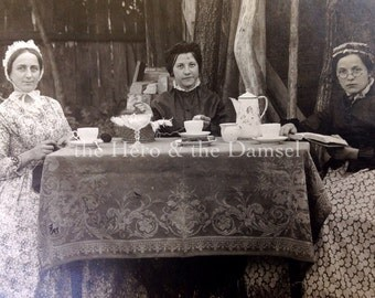 The Tea Party // Vintage rppc photo funny girls dressed up like historical women having a tea party, antique oddity photo, vernacular photo