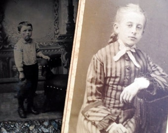 A Boy & A Girl // Original antique tintype of little boy, CDV of girl in striped dress // Victorian boy and girl photo lot of two