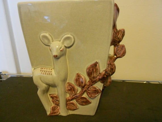 Vintage red wing pottery vase with deer by foundgoodies on
