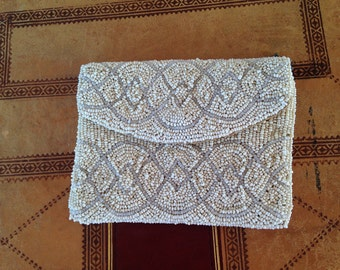 Beaded Purse - 1920's Vintage Clutch Bag - Evening Purse - Silk Lined