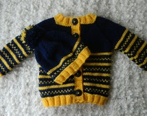 EXPRESS SHIPPING!!! Knit Baby Fair Isle Navy And Yellow Striped Baby Boy Baby Girl  Sweater and Hat Set  Acrylic  Yarn Birthday Baby Shower
