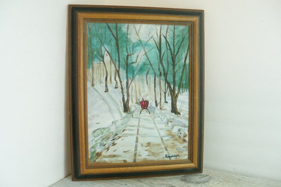 Vintage Winter Scene Oil on Canvas Painting Signed by Randolph Red Sleigh in the Snowy Woods 1970s