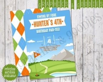 Golf Birthday Party Invite w/ Coordinating Double-Sided Design