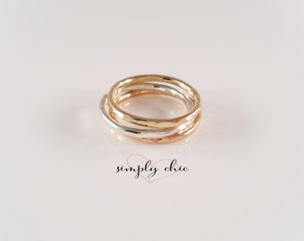 Hammered Thick or Thin Stacking Ring Trio (Gold Sterling Silver Rose Gold Ring Set Gifts for her under 50)