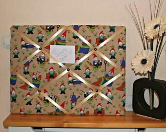 Gnome notice board, notice board, memo board, kitchen decor, office decor, Gnome gifts, Garden gnome, fishing gnome, gnome decor