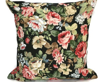 18 x 18 pillow cover, Black cushion cover, vintage cushion cover, floral pillow, floral cushion cover, vintage fabric, vintage decor