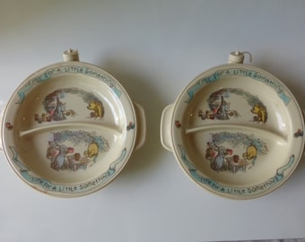 Your choice of 2 Vintage 1980's Classic Winnie the Pooh and Friends Warming Dishes with suction bottom.