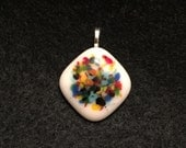 Reserved for kaysandra - multi-color fused glass pendant