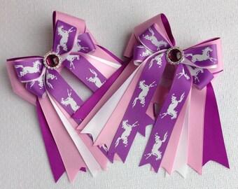Pony Hair Bows/Pink Purple Hair Accessory/Sparkle Purple Gem/Horse Show