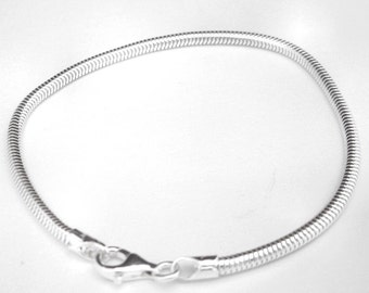 Italian  925 Sterling Silver Snake Chain Bracelet for European Style and Large Hole Beads