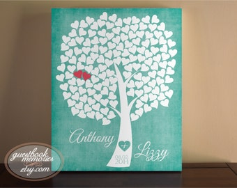 Heart Guestbook Tree Canvas - 150 Guests - 16x20 print or canvas- Wedding Tree Guest Book - Heart Tree Guest Book - Signature Hearts - Guest