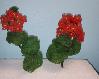 2 Vintage Red French Beaded Flowers