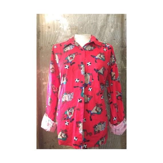 Vintage 90s Looney Tunes Taz Tasmanian Devil Shirt Size M L