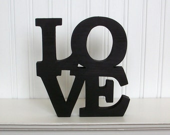 LOVE Square Wood Sign, Love Word Sign. Black Love Letter Sign