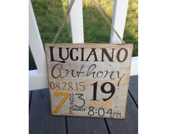 Baby Stats Wooden Sign