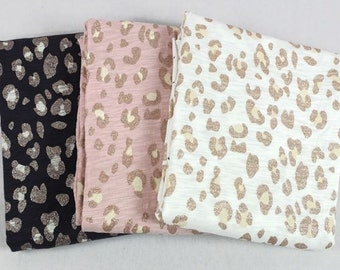Leopard Cotton Knit - Slub Knit Fabric - 3 Colors Selection,Width 140cm (55 Inches)