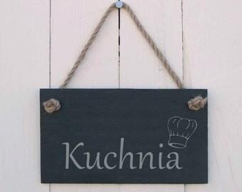 Slate Hanging Sign Polish Kitchen 'Kuchnia' (SR269)