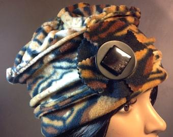 Hat / Bonnet fleece printed Panther. Unique size