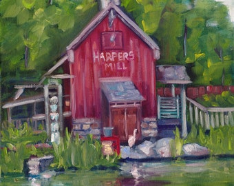 Harper's, oil painting, original art, ready to hang, country art, disney painting