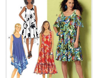 Butterick Sewing Pattern B6350 Misses' Sleeveless and Cold-Shoulder Tent Dresses