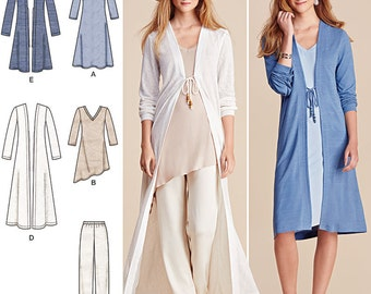 Simplicity Sewing Pattern 8059 Misses' Duster in Two Lengths,Pants and Knit Dress or Tunic