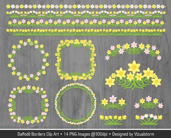 Flower Border Clipart Daffodil Scrapbooking Frames Spring Floral Embellishments Photo Craft Frame For Card Making Invitations From VizualStorm